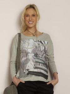 Camiseta de embarazo en dos tejidos en Vertbaudet